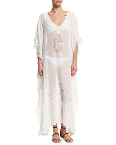 Tivoli Lace-Inset Long Caftan Coverup, White