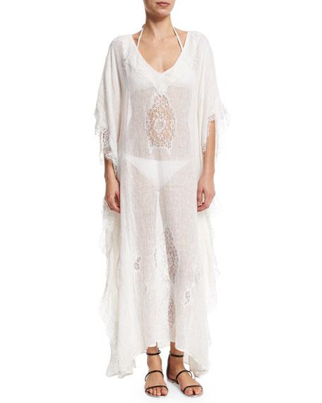 Flora Bella Tivoli Lace-Inset Long Caftan Coverup, White