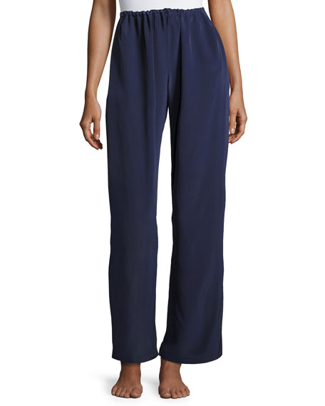 CHRISTINE DESIGNS Opal Drawstring Silk Lounge Pants, Dark Blue