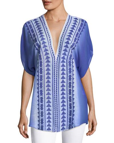 Anguilla Embroidered Ombre Silk Tunic