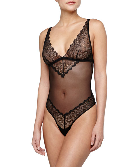 Cosabella Papyrus Lace-Trim Teddy, Black