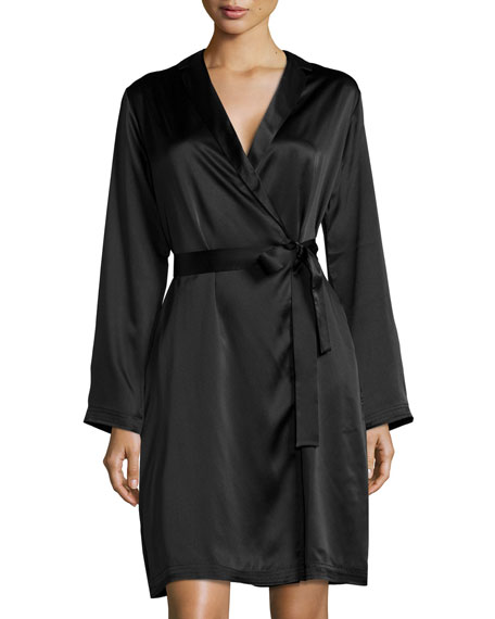 La Perla Silk Long-Sleeve Short Robe