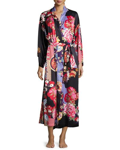Mikado Floral-Print Long Robe, Black
