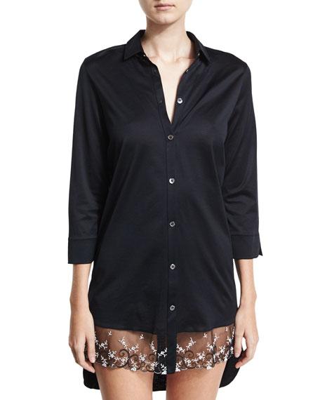 La Perla Liaisons Lace-Trim Sleepshirt, Black