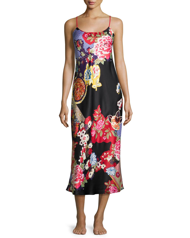 Natori Mikado Floral-Print Satin Gown, Black | Neiman Marcus