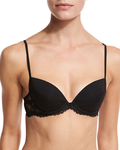 Airy Blooms Push-Up Bra, Black