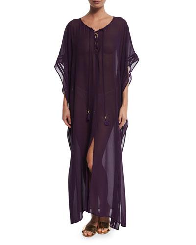 Chiffon Lace-Up Caftan Coverup, Regal Purple