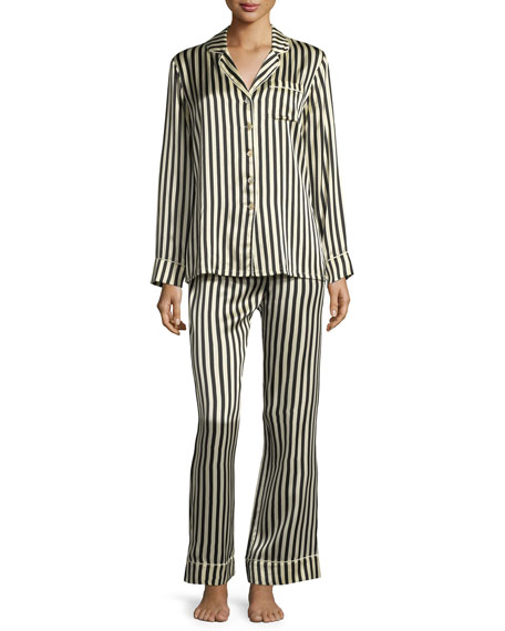 Lila Nika Striped Silk Long Pajama Set