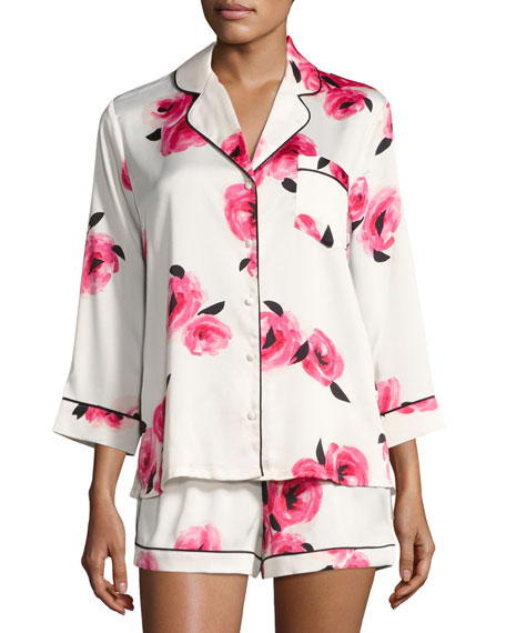 kate spade new york floral-print shortie pajama set