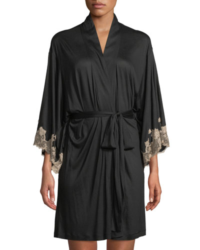 Charlize Lace-Trim Short Robe