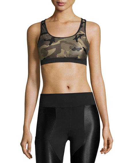 Koral Activewear Bridge Camo-Print Sports Bra, Green/Black