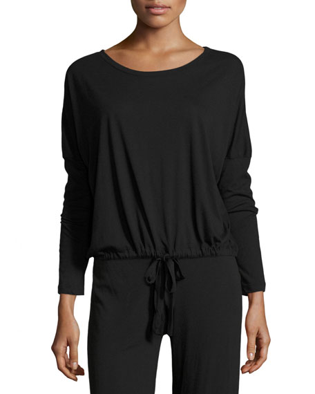 Eberjey Heather Slouchy Drawstring Lounge Tee, Black
