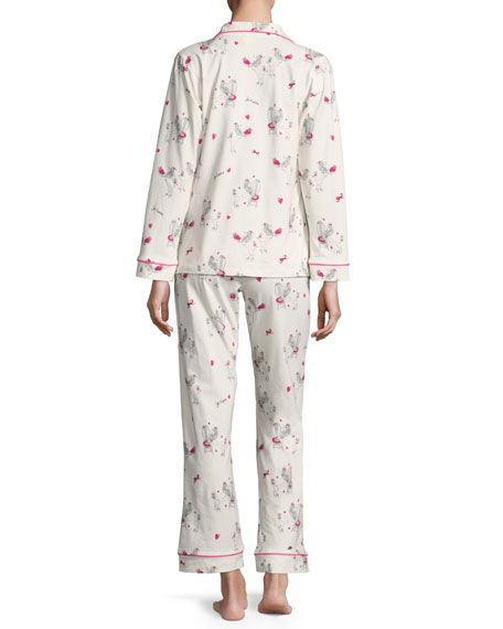 Fifi Long-Sleeve Printed Classic Pajama Set, White Pattern
