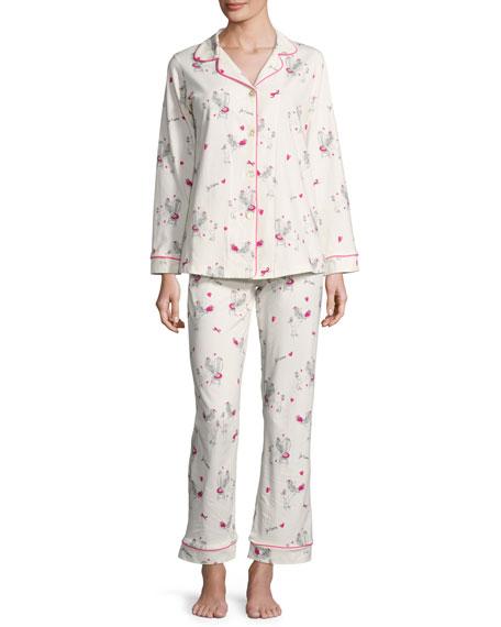 Bedhead Fifi Long-Sleeve Printed Classic Pajama Set, White