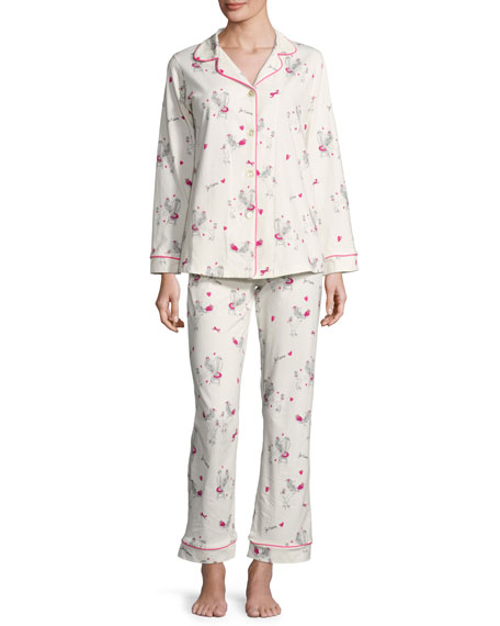 Bedhead Fifi Long-Sleeve Printed Pajama Set, White Pattern,
