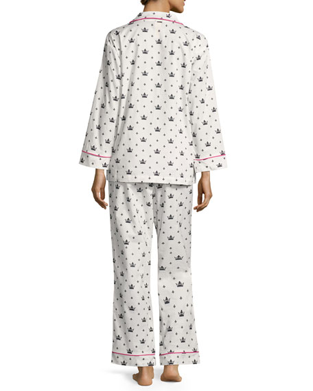 Queen Long-Sleeve Pajama Set, White/Black