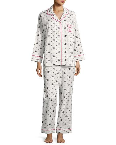 Queen Long-Sleeve Pajama Set, White/Black