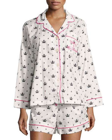 Bedhead Queen-Print Long-Sleeve Shortie Pajama Set, White/Black