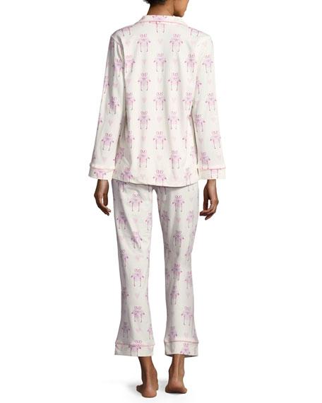 Flamingos In Love Classic Long-Sleeve Pajama Set, Plus Size