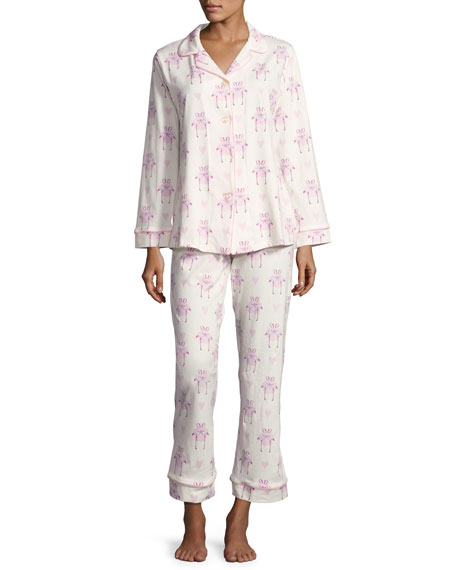 Flamingos In Love Classic Long-Sleeve Pajama Set, Plus Size