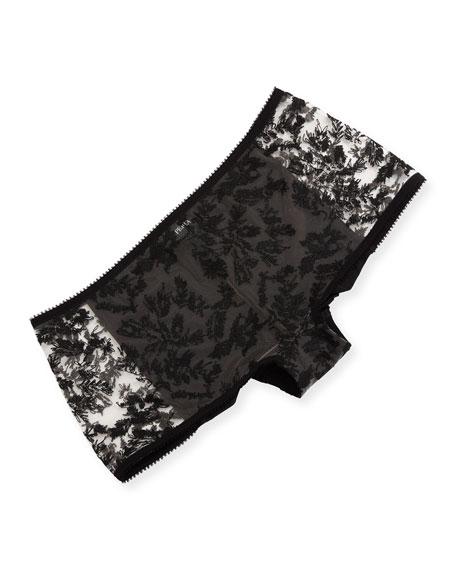 La Perla Autografo Lace-Front Boyshorts, Black Pattern