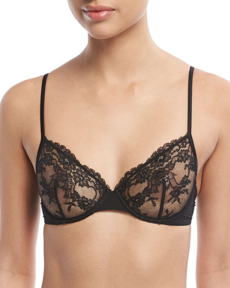 Airy Blooms Underwire Bra, Black