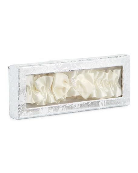 Boxed Pearl-Embellished Garter for Bride, White