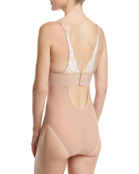Bella Admiring Lace-Cup Bodysuit, Pink