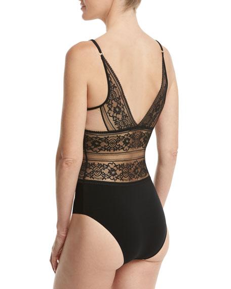 Ophelia Whistling Lace Bodysuit, Black