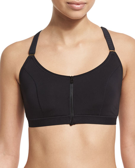 Natori Yogi Wireless Zip-Front High-Impact Sports Bra, Black