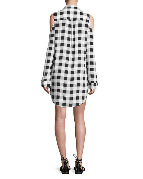 Eyes on You Cold-Shoulder Buffalo Check Shirtdress, White/Black