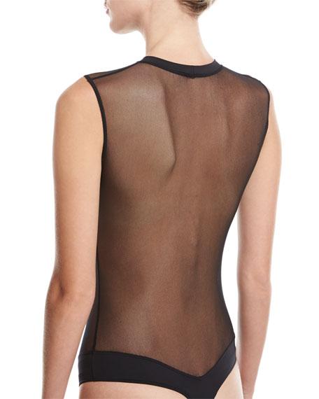 Bisou Move Illusion-Panel Thong Bodysuit, Black