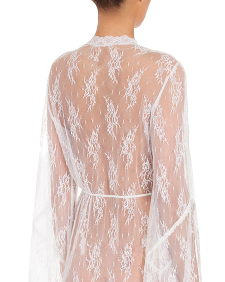 Petal Sheer-Lace Robe, White
