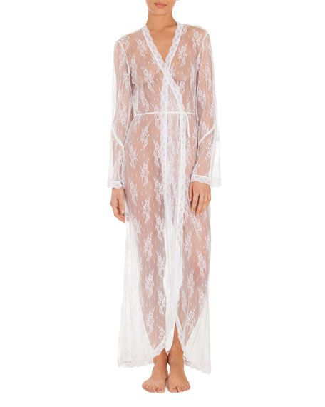 Jonquil Petal Sheer-Lace Robe, White