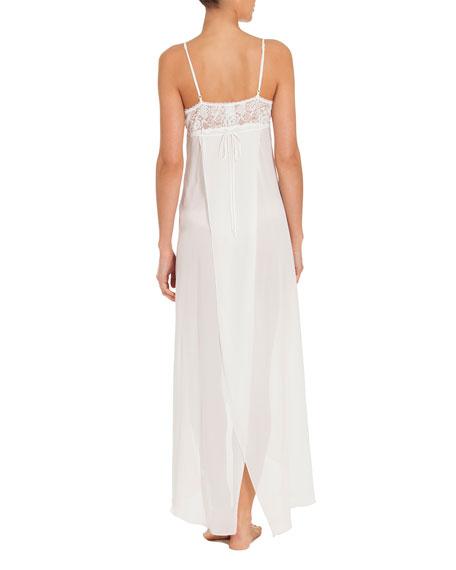 Mist Lace-Trim Long Nightgown, White