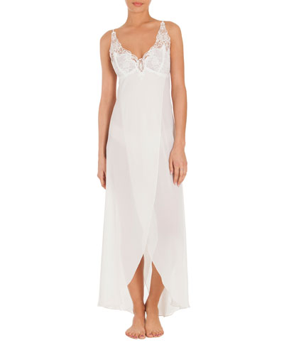 Mist Lace-Trim Long Nightgown, White