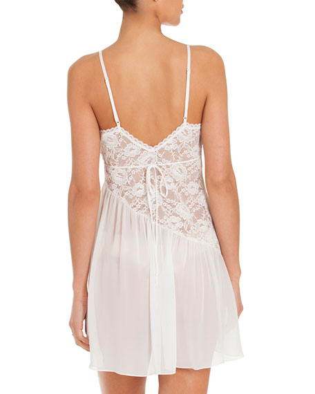 Daydream Lace-Inset Chemise, Ivory