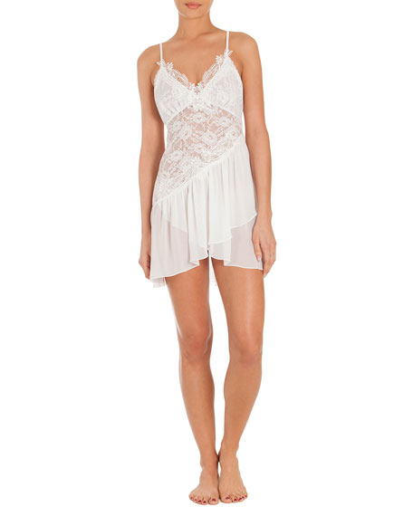 Jonquil Daydream Lace-Inset Chemise, Ivory