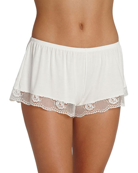Noor Lounge Shorts with Lace Trim, Ivory