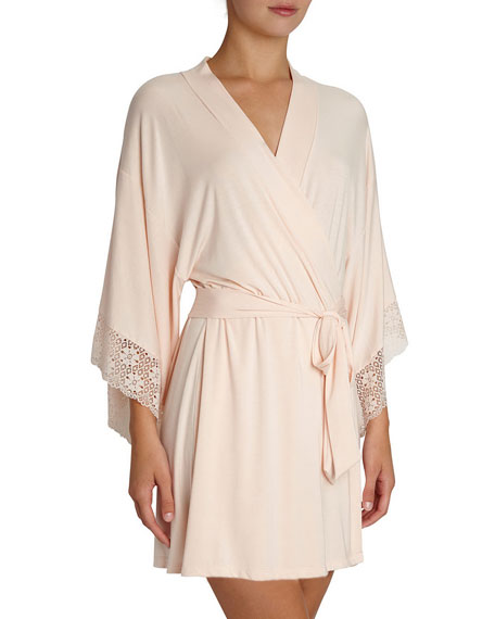 Zelia Lace-Trim Kimono Robe, Light Pink