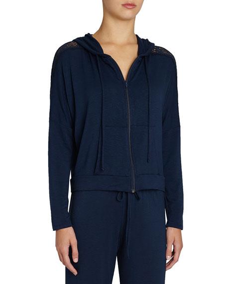 Eberjey Cara Hoodie Sweatshirt with Lace
