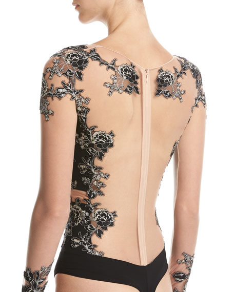 Peony Floral-Embroidered Long-Sleeve Bodysuit, Black