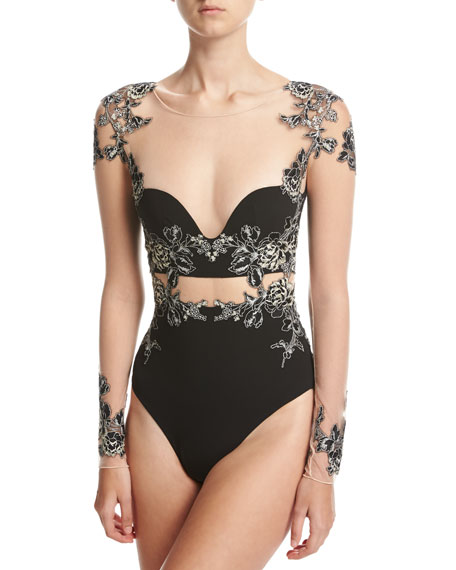 La Perla Peony Floral-Embroidered Long-Sleeve Bodysuit, Black