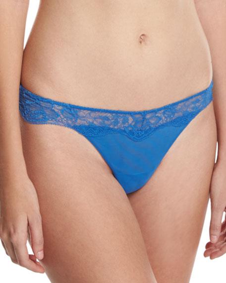 Blossoms Lace-Trim Thong, Blue