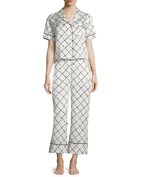 kate spade new york faux-quilted print pajama set, white