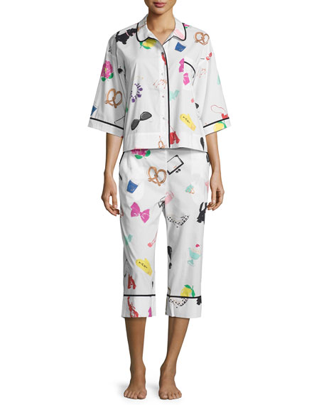 kate spade new york printed cropped two-piece pajama
