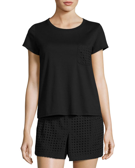 two-piece skort pajama set, black