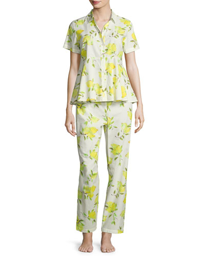 lemon-print two-piece pajama set, multi pattern