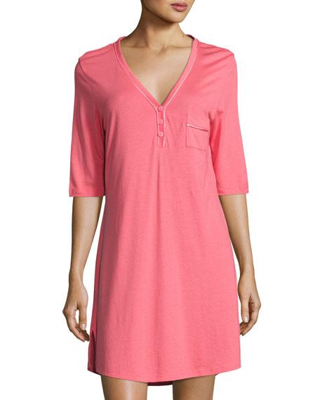 Cosabella Jersey Half-Sleeve Sleepshirt, Pink/Orange