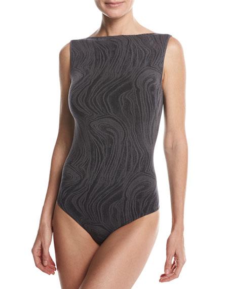 Wolford Marble Thong-Back Bodysuit, Black